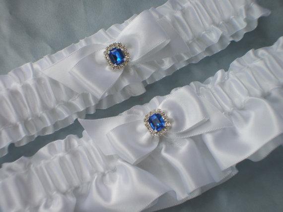 Свадьба - White Royal Blue Rhinestone Accent Bridal Garter Set