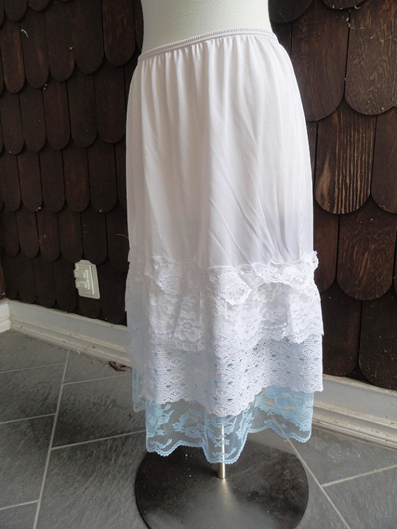 Hochzeit - Flirty, Lacey White ad Baby BlueUnderskirt Slip Sz  M  Upcycled Altered Couture Mori