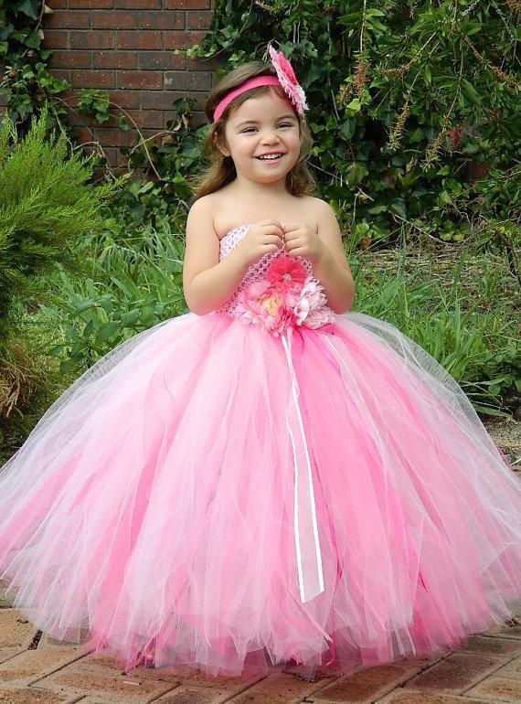 ac251846a Pink flower girl dress- Shade of Pink Flowergirl Tutu Dress, birthday, Ball  party ,Junior bridesmaids dress/Blue Flower Girl