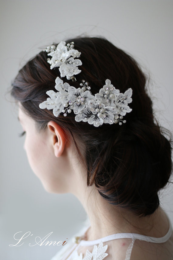 Mariage - Ivory Lace Flower Bridal Wedding Hair Clip adorned with Rhinestones and Faux Glass Pearls