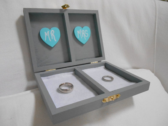 Mariage - Wedding Ring Box Ring Bearer Box His and Her's Custom color engraved, ring bearer pillow, tiffany blue wedding