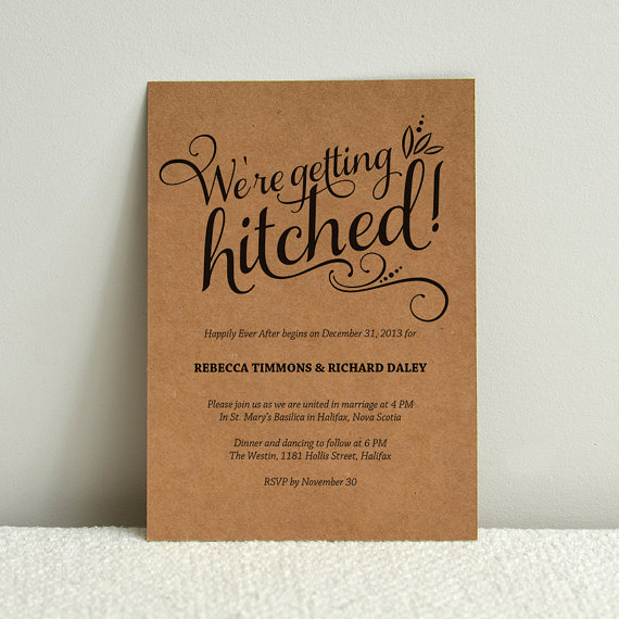 We Re Getting Hitched Script Cheeky Diy Kraft Paper Wedding Invitation Template