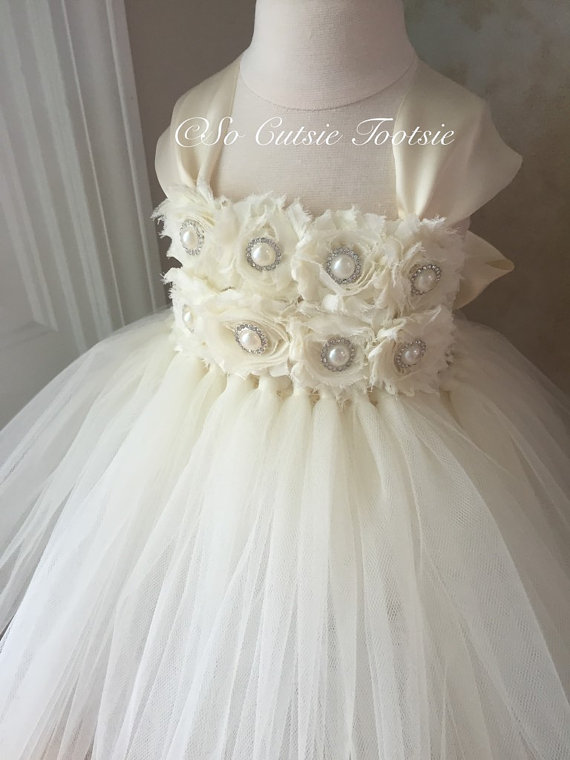 Mariage - Ivory Flower Girl Dress, Ivory tutu dress, Flower Girl Tutu Dress, girls dress, wedding dress, pageant dress, tutu dress,