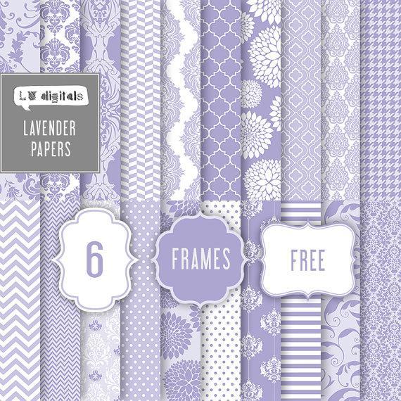 lavender digital paper lilac purple damask floral flowers wedding pattern background printable frames labels invitation card scrapbooking