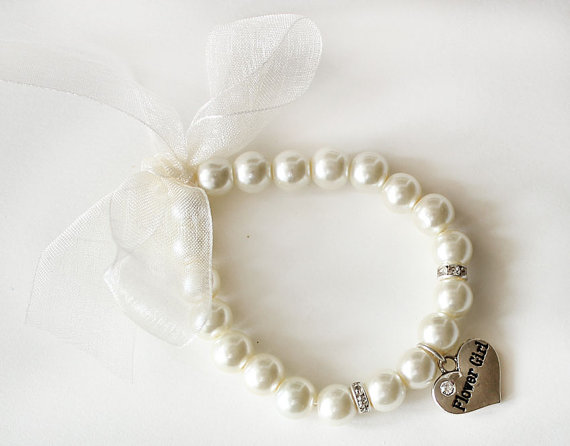 Свадьба - Flower girl pearl bracelet flower girl gift ivory organza ribbon rhinestone crystal heart charm jewelry wedding gift children bracelet