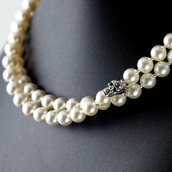 Свадьба - Swarovski pearl necklace, double strand with skull: princess length ivory, white, pink, black pearls, goth rockabilly wedding skull jewelry