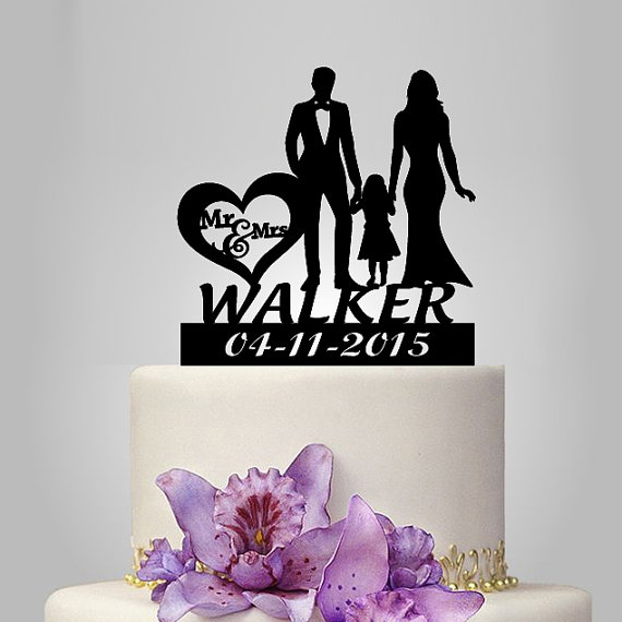 Свадьба - personalized Wedding Cake Topper, Bride and Groom with little girl silhouette cake topper, happy family funny and unique