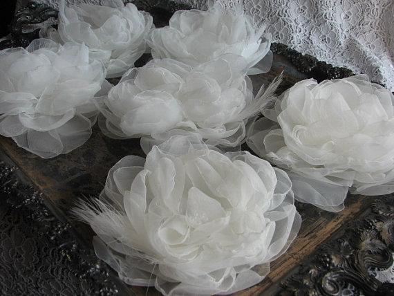 Hochzeit - Organza flower Ivory hair flower Ivory dress Ivory sash flower Ivory organza flower Ivory wedding flower Ivory bridal flower