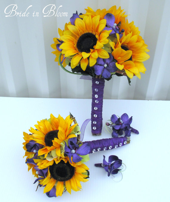 4 Piece Wedding Bouquet Set Sunflower Purple Orchid Silk Flowers