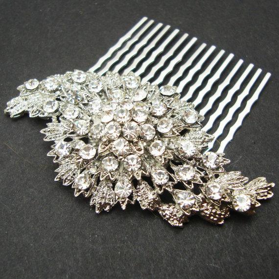 Wedding - Vintage Inspired Bridal Hair Comb, Rhinestone Wedding Hair Comb, Wedding Hair Accessories, Art Deco Bridal Hair Piece, BEVERLY