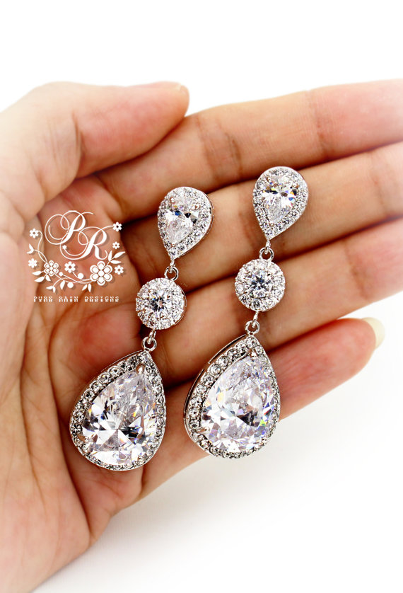 Свадьба - Wedding Earrings Platinum plated Zirconia Earrings Wedding Jewelry Bridesmaid Earrings Bridal Earrings Teardrop Earrings Bridal Jewelry Tvis