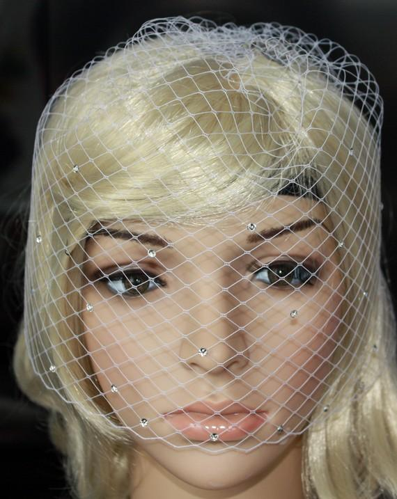 Wedding - Bling-bling Birdcage Veil Russian netting White or Ivory With Swarovski Crystal Rhinestone Wedding Reception