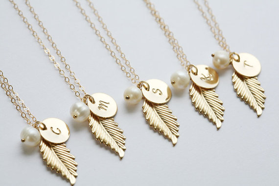 set of 6 gold feather necklace initial necklace custom