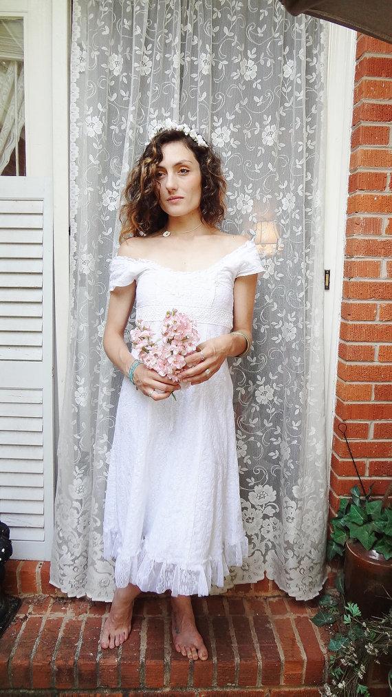 Mariage - Romantic Cowgirl Wedding Dress,Prairie Wedding, Mori Girl, Altered Couture Wedding Dress, Shabby Chic Lace Dress,  XS Bertha Louise Designs
