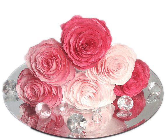 Paper Flowers, Paper Peonies, Flower Cake Topper, Baby Shower Decor ...