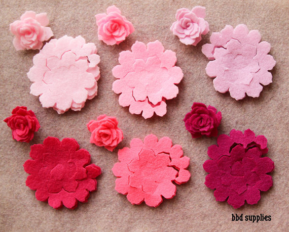Mariage - Perfectly PInk- 3D Tattered Rolled Roses - 12 Die Cut Acrylic Felt Flowers - Unassembled Rosettes
