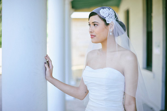 Wedding - Wedding veil, Juliet Cap Veil with French corded lace applique in ivory, bridal soft tulle, waltz length