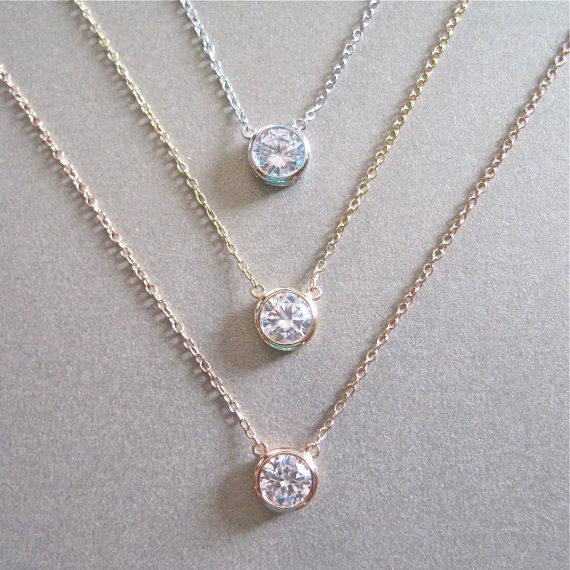 Hochzeit - Solitaire Diamond Necklace - Diamond Necklace - Floating Diamond