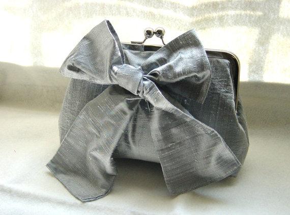 Mariage - Bridal Clutch - Wedding Clutch - Bridesmaids Clutch - Bridesmaids Gifts - Wedding Gifts - Gray Bridal Clutch Purse - Marisa Clutch