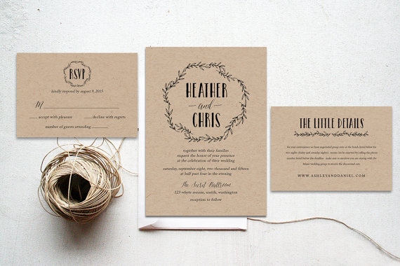 The Smokey Suite - Printable Wedding Invitation Suite, Minimalist ...