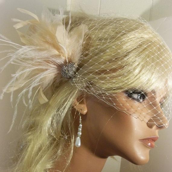 زفاف - Wedding Fascinator, Bridal Veil, Wedding Veil, Bridal Fascinator, Feathers, Rhinestone Brooch, Feather Fascinator, Wedding Hair Clip, Set