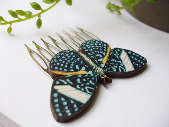 زفاف - x2 Beautiful Butterfly Hair Comb Set Barrette Hair Clip Perfect Bridal Hair Accessory Pretty Fashion Statement Ready to Ship