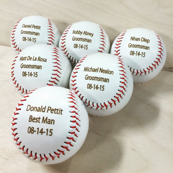 Mariage - Engraved Baseball, Ring Bearer Gift, Groomsman Best Man Favor, Wedding Baseball, Custom & Personalized Baseball for Men