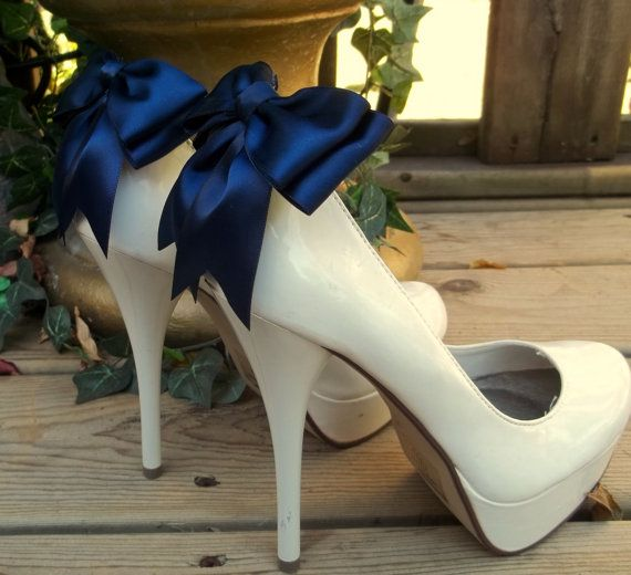 Hochzeit - Satin Bow Shoe Clips - Set Of 2 - Bridal Shoe Clips, Wedding Shoe Clips Many Colors To Choose