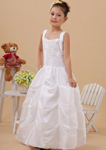Wedding - Buy Australia White Straps Beaded Appliques Pick-ups Floor Satin A-line Flower Girl Dresses 2410371 at AU$97.61 - Dress4Australia.com.au