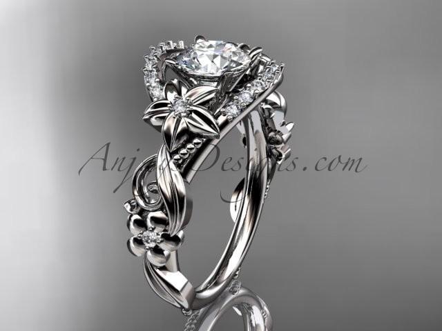 "Wedding - Platinum flower diamond unique engagement ring with a ""Forever Brilliant"" Moissanite center stone ADLR211"
