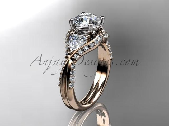 """Hochzeit - Unique 14kt rose gold diamond wedding ring, engagement ring with a """"Forever Brilliant"""" Moissanite center stone ADLR319"""