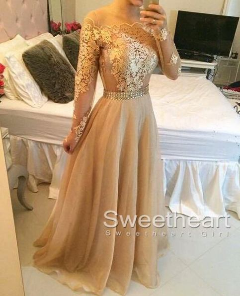 Hochzeit - Champagne A-line Lace Long Prom Dress, Formal Dress from Sweetheart Girl