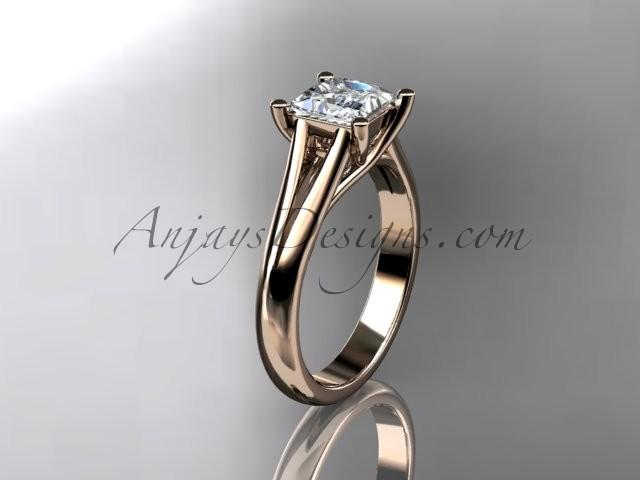 """Wedding - 14kt rose gold diamond unique engagement ring, wedding ring, solitaire ring with a """"Forever Brilliant"""" Moissanite center stone ADER143"""
