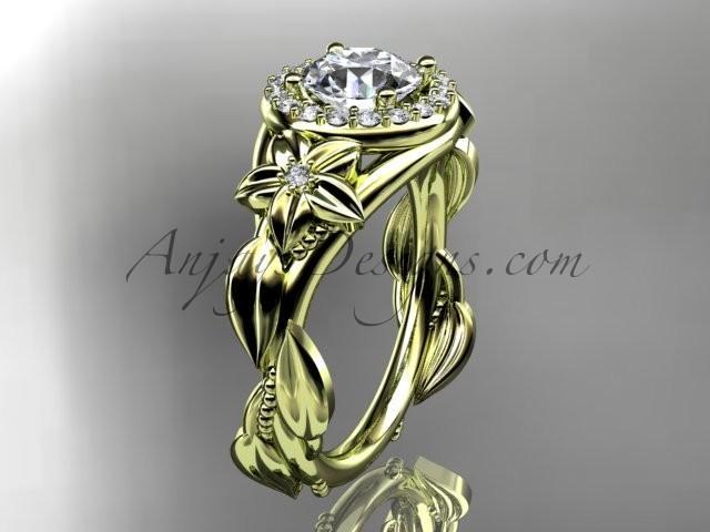 """زفاف - 14k yellow gold diamond unique leaf and vine, floral engagement ring with a """"Forever Brilliant"""" Moissanite center stone ADLR327"""