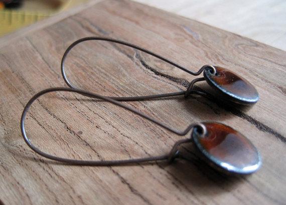 Mariage - Chestnut Brown Short Dangle Earrings, French Roast Brown Copper Enamel Jewelry, Nickel Free Copper Kidney Earwires, Espresso, Handmade