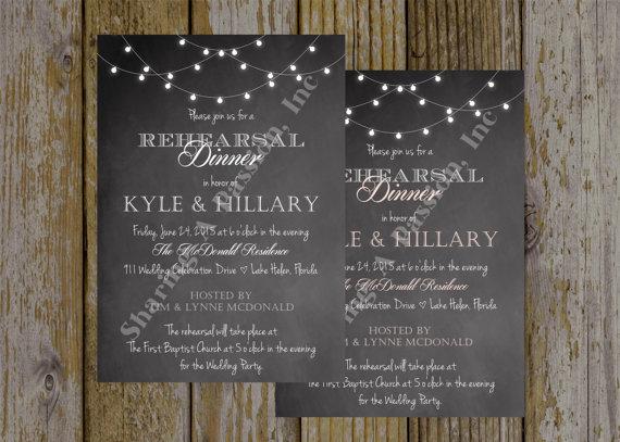Wedding - Rehearsal Dinner Invitation - Wedding Rehearsal Invitation - Chalkboard Invitation - Lights Invitation - Shower Invitation - Printable