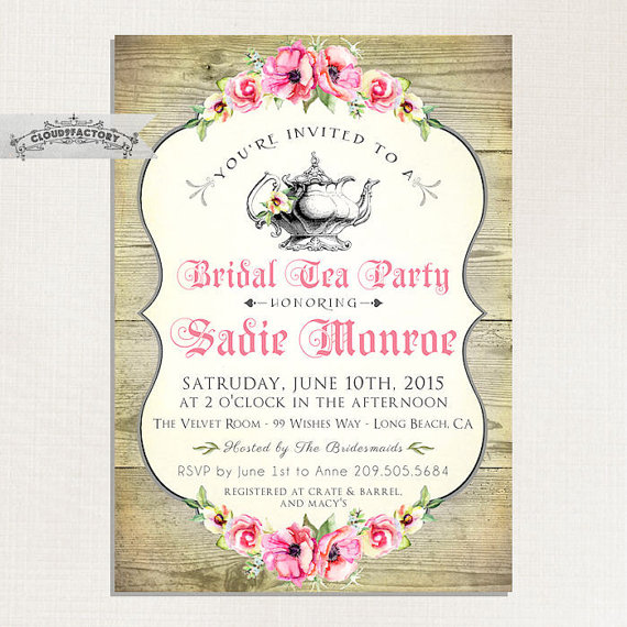 wood look bridal shower tea party invitations bridal high tea