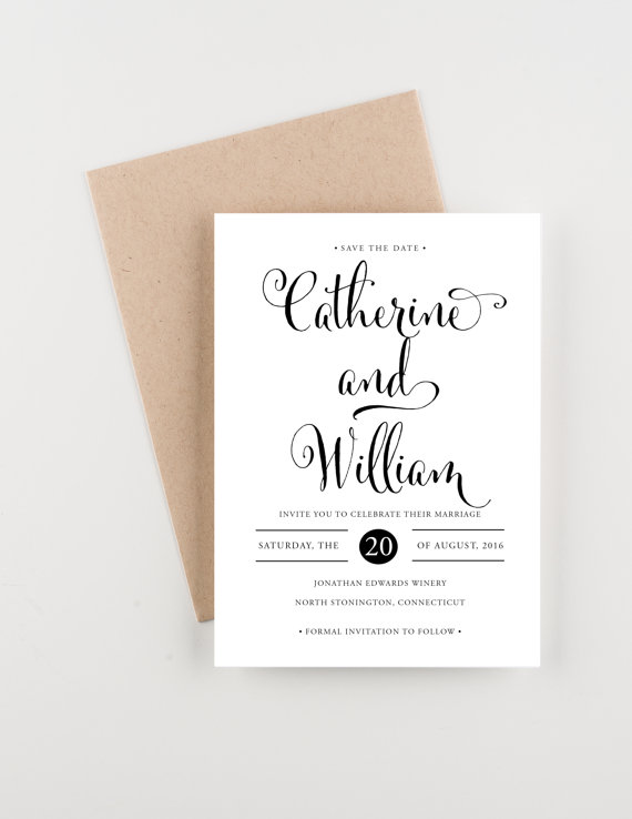 Mariage - Classic Calligraphy Save The Date, Bridal Shower, Wedding Invitation