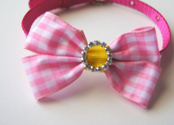 Свадьба - Pink Plaid Bow Dog Collar Attachment