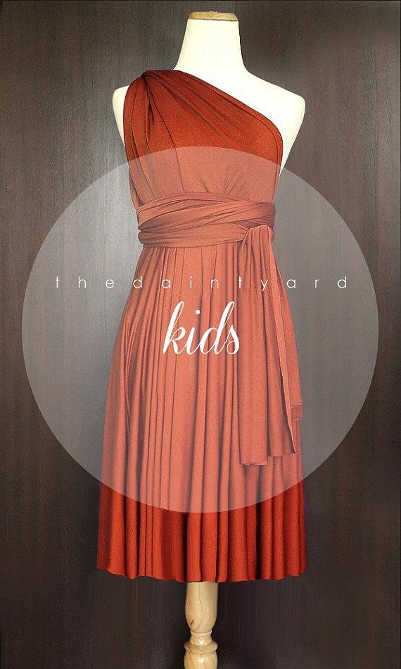 0647f2f416e KIDS Burnt Orange Bridesmaid Dress Wedding Dress Infinity Dress Convertible  Dress Wrap Dress Rust Flower Girl Dress