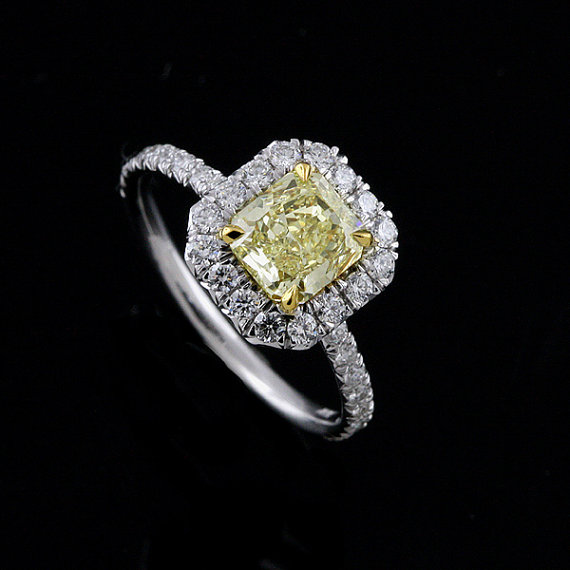 Two Tone Halo Delicate Fancy Engagement Ring Mounting Setting Pictured With Yellow Canary ...
