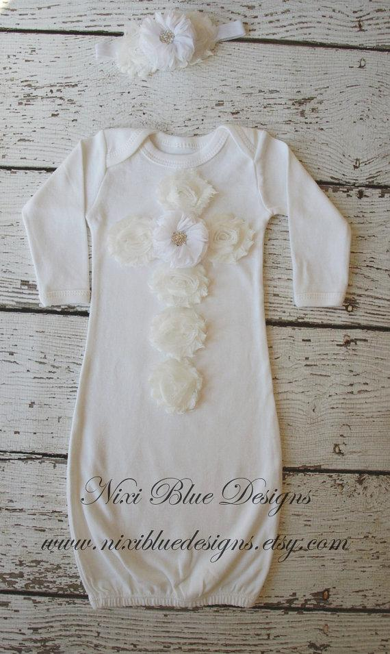 7ded43dbe White Baby gown Set Baby girl Christening gown Baby white headband Newborn  wedding outfit Baby Girl Shower Baby coming home outfit