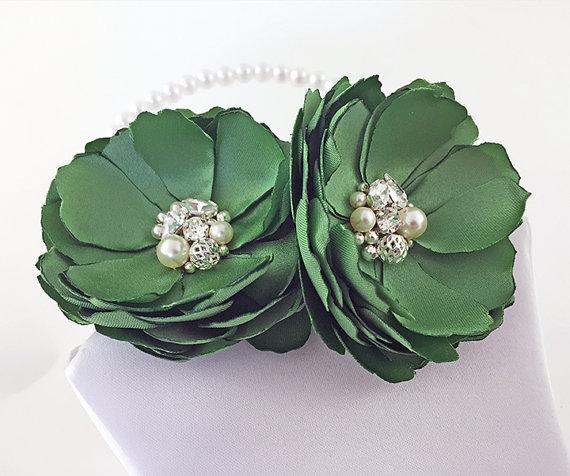 زفاف - Clover Green Satin Flower Hair Clip - Shoe Clips, Brooch Pin for a Bride, Bridesmaid Gift, Flower Girl, Event, Family Photo Many Color - Kia