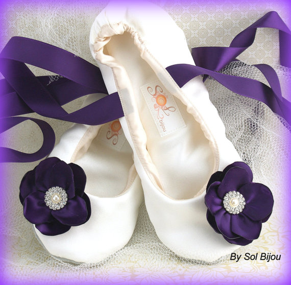 Ballet Flats Wedding Bridal Shoes Flower Girl Ballerina Slippers Plum Purple Ivory Satin Crystals Elegant Destinatination