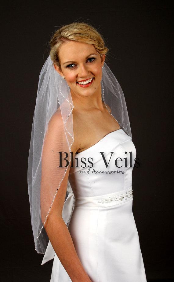 Mariage - Beaded Edge Wedding Veil, Waist Length Bridal Veil, One Layer Veil