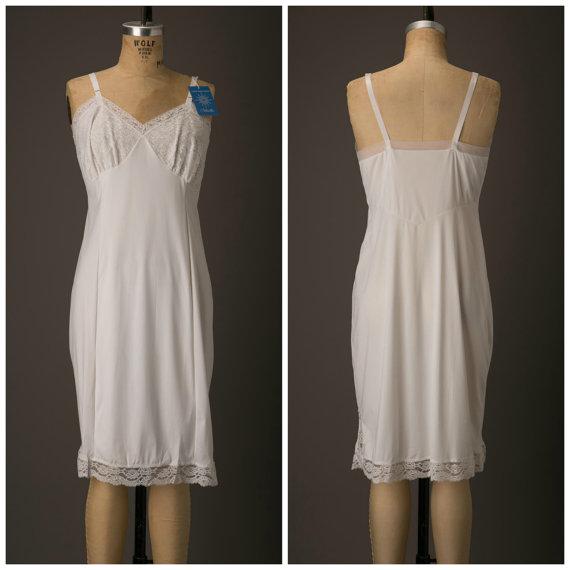 Свадьба - 1960s Nylon White Slip