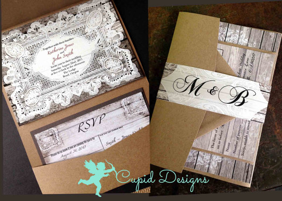 rustic chic lace and burlap wedding invitations kraft pocket fold elegant unique romantic personalized