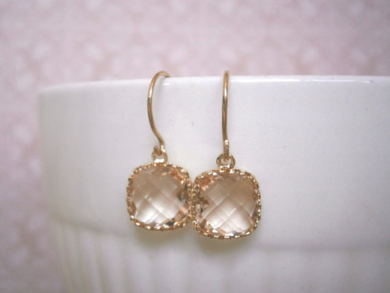Mariage - Blush Earrings, Blush Champagne, Gold Earrings, Petite, Simple, Everyday Jewelry