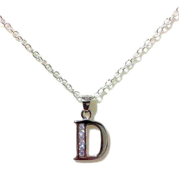 Mariage - Letter D Initial Necklace, Bridal Necklace, Alphabet Jewelry, Sterling Silver, Personalized Jewelry