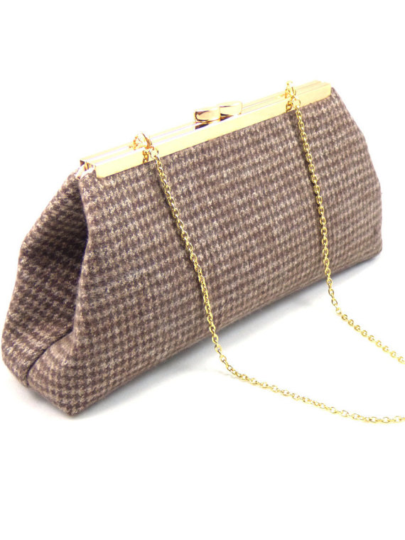 Mariage - Brown Hounds Tooth And Champagne Bridesmaid Clutch, Bridal Clutch, Bridesmaid Gift, Bridal Shower Gift, Mother Of The Bride Gift, Wedding